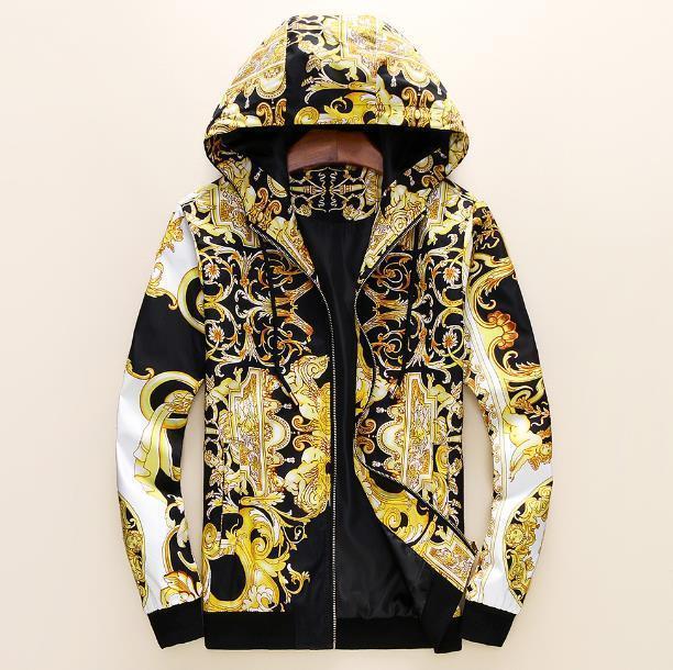 Бесплатная доставка Высокое Качество Цифровое Печатное пальто Стружные пружины Новые Палорусные Одежда Мужская Одежда A-01