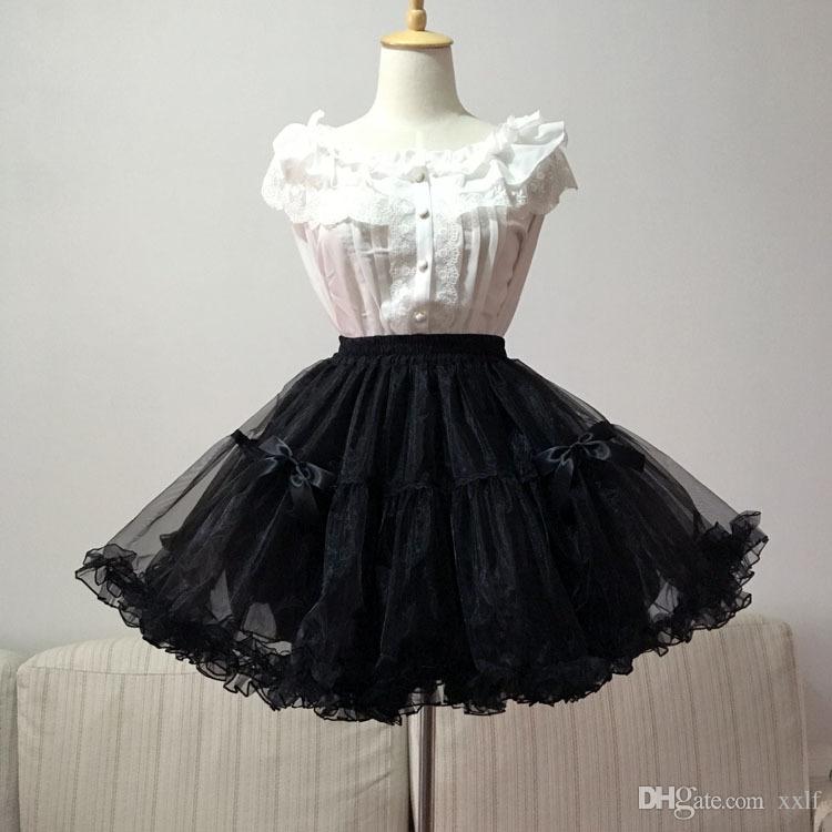 Schwarz / Weiß Ballkleid Petticoat Sweet Lolita Organza Unterrock mit Bogen Freies Verschiffen