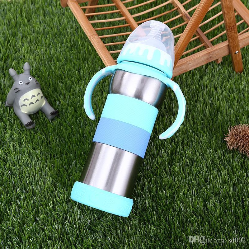 Детская мода вакуумная чашка с ручкой из нержавеющей стали мультфильм милые бутылки с водой герметики утечки Участник студент чайник для наружного переноски 27LC KK
