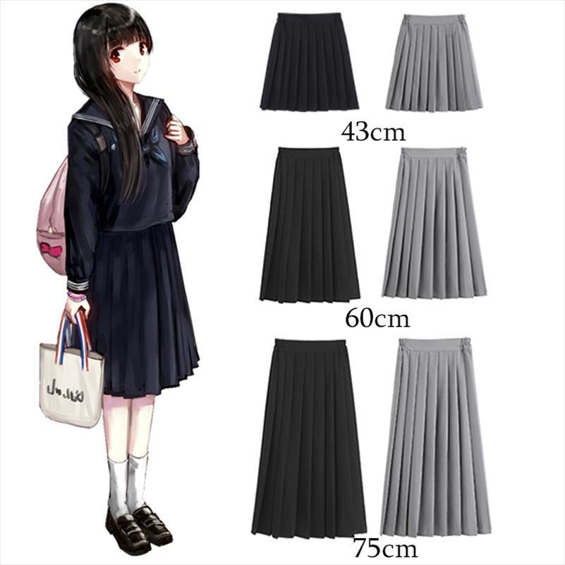 Mujeres Verano Alto Cintura Japonesa Preppy Estilo Falda High School Chicas JK Suit Sailor Uniform Color Sólido Plateado Falda Plisada