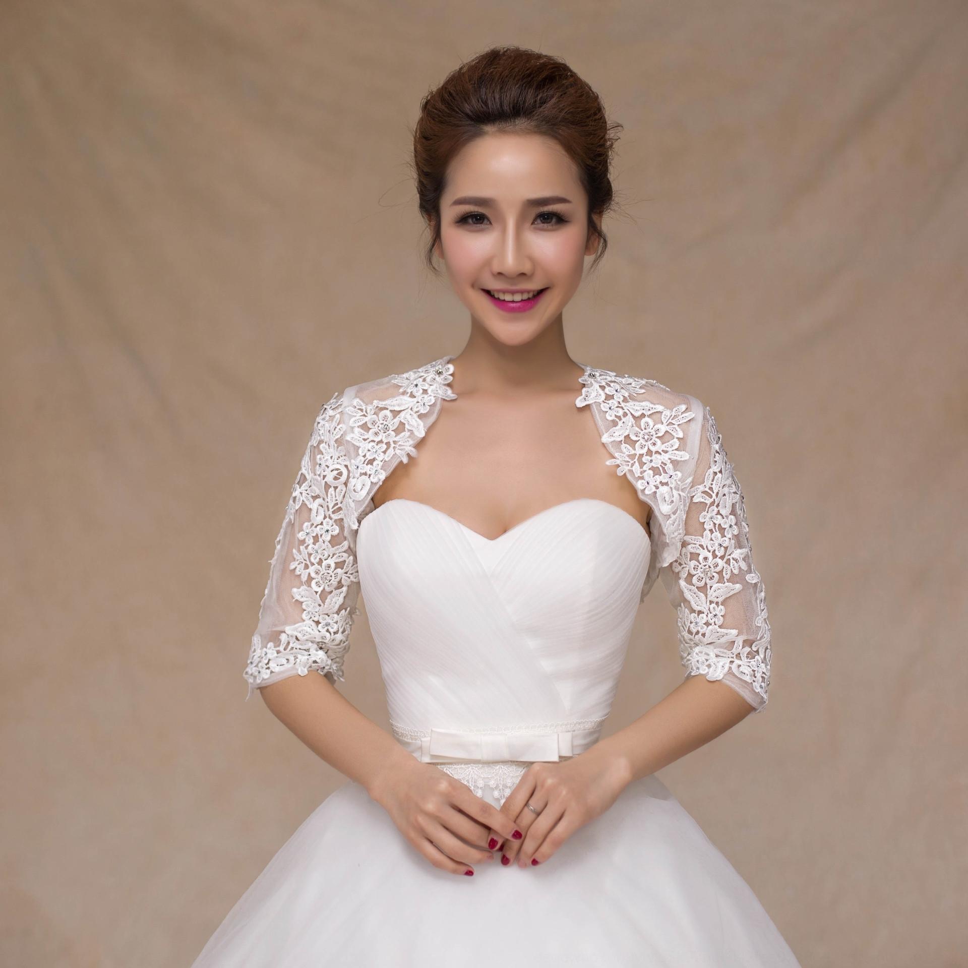 Новое кружево половина рукава пальто пальто кружева свадебные тюль Свадебная шаль белая свадьба шаль кореев