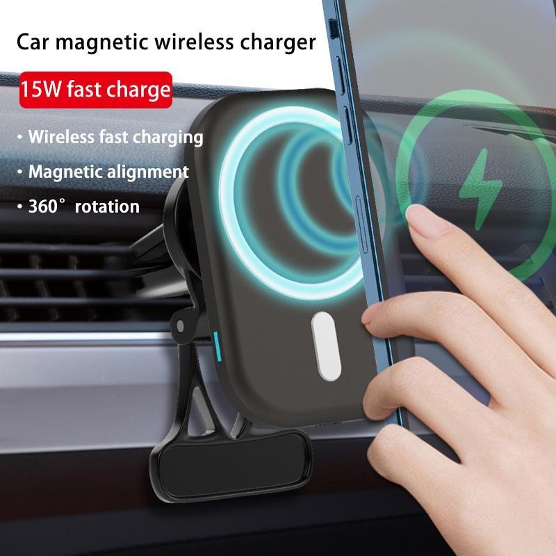 Carregador rápido magnético do suporte do telefone 15w para o iphone 12 pro max gps gps ímã de carregamento sem fio