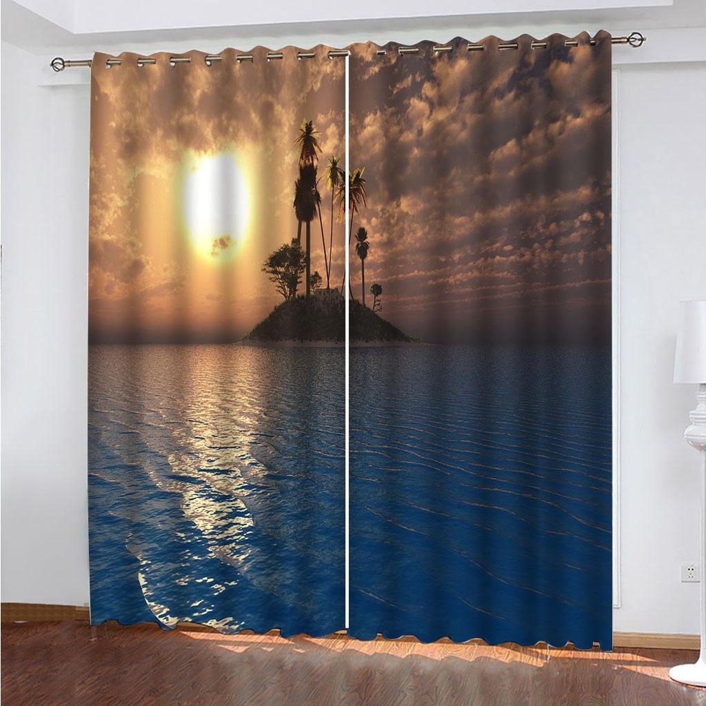 Paisaje marino en la oscuridad 3D Cortinas para sala de estar Habitación Dormitorio para niños Tamaño personalizado Cortina apagón decorativa