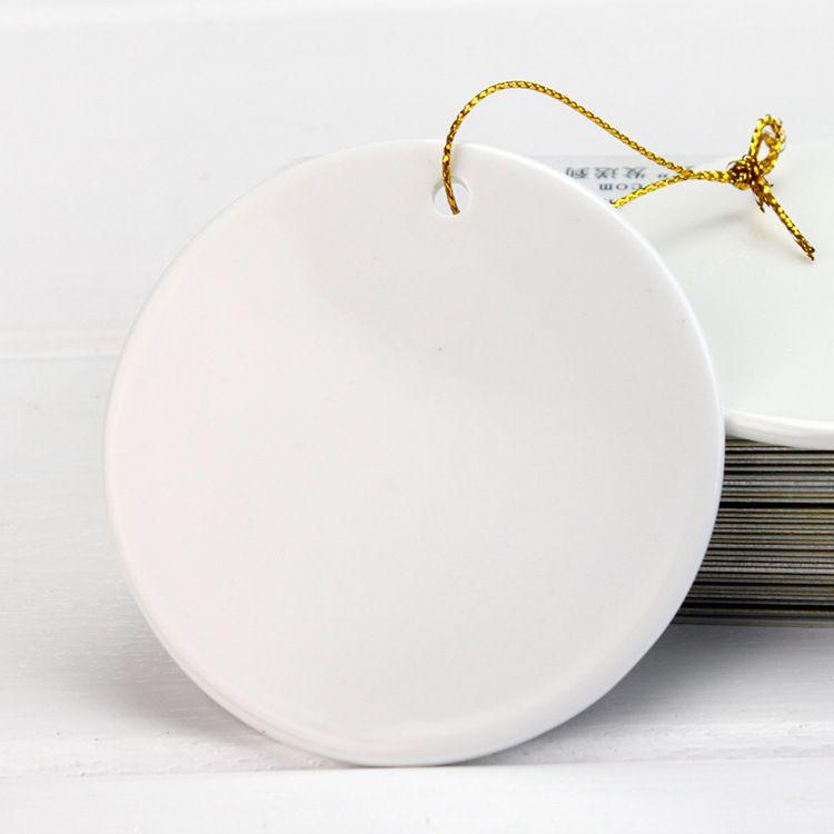 Sublimation Christmas Christmas Pendentif Ornement Pending Décoration de 3 pouces Blanc Round Round Coating de Noël Décoration WB3441