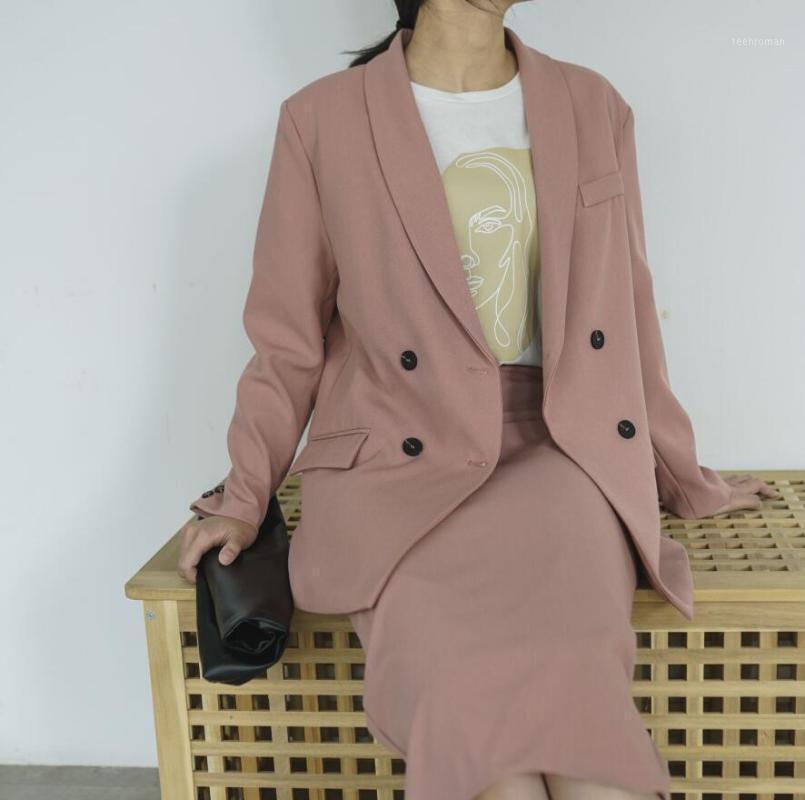 Весенние женщины Blazer костюмы удваивают розовые розовые высокие талии юбка офис леди наборы1 два части платье