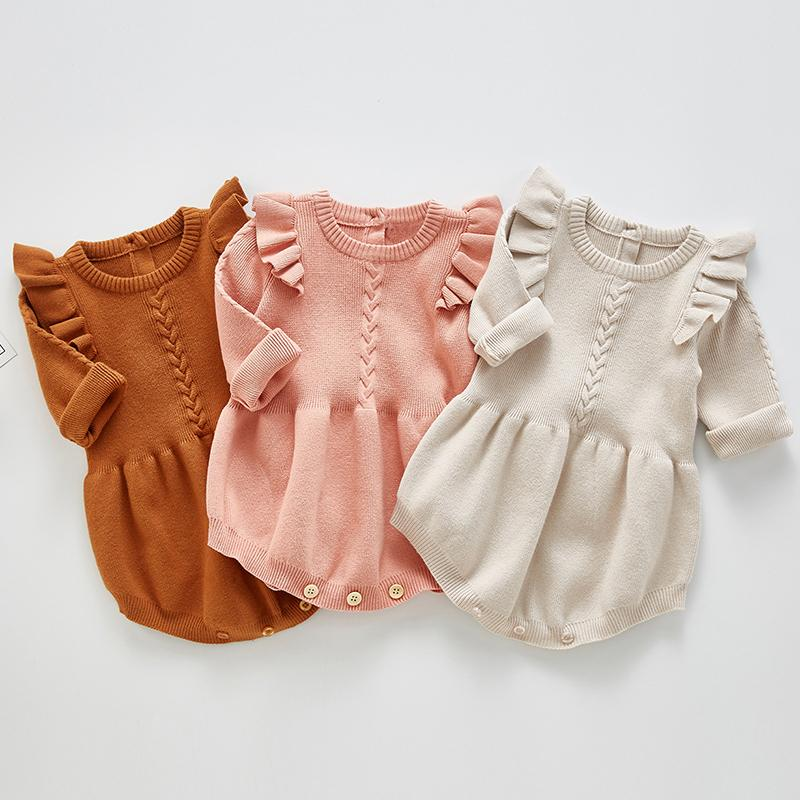 2021 Newborn Girls tejido de punto Ropa de Ropa de algodón Lana Rompers Ruffle Infantil Baby Boy Boys Jumpsuit Q1215
