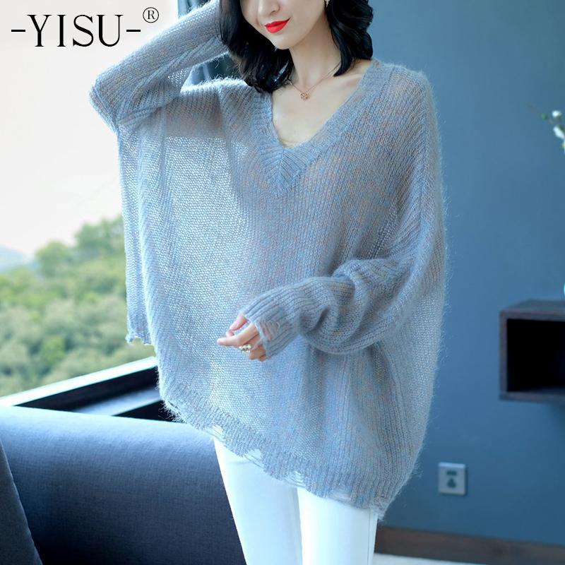 Yisu 2020 Herbst Mohair Pullover lose dünne Pullover Frauen v-Ausschnitt rissige Ärmel Strickpullover weibliche Strickwaren Wolle Pullover