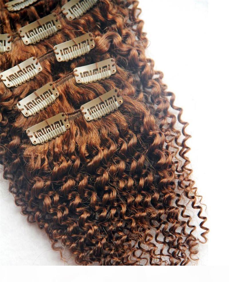 MALAYAIN 9A Kinky Clip rizado en extensiones de cabello humano 100g Malasian Remy Hair 10pcs Set 100 g
