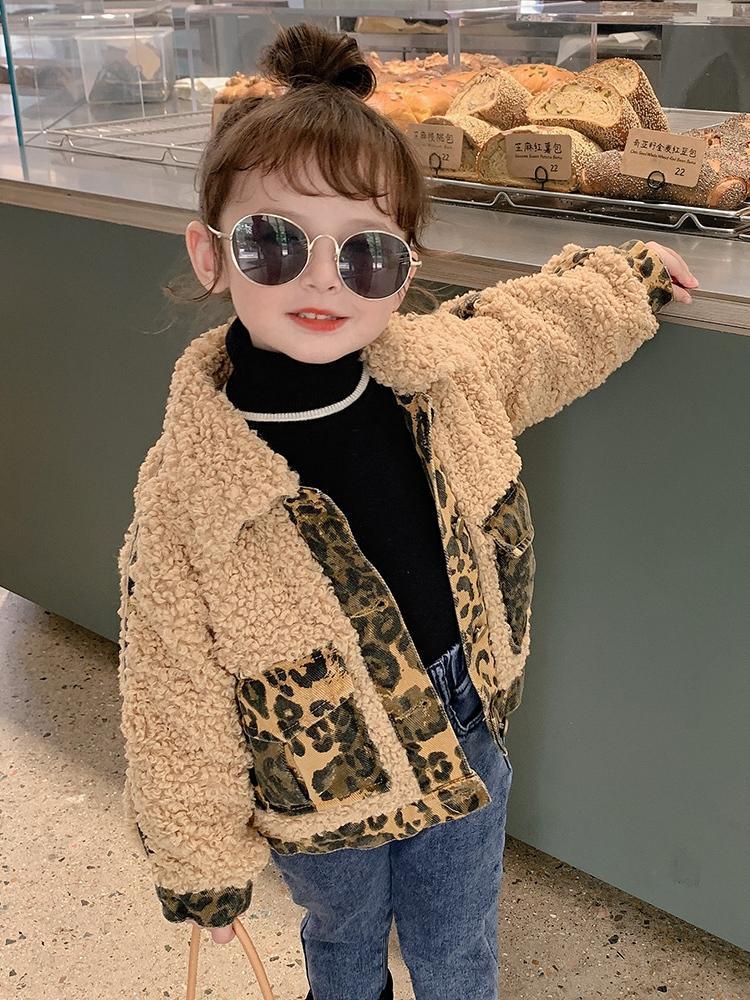 Abrigos de lana de piel de leopardo para niñas Edad 2 4 5 6 7 8 AÑOS Chaquetas infantiles Corderos Lambs Coats Kids Fleece Outerwear Girls Ropa 201110