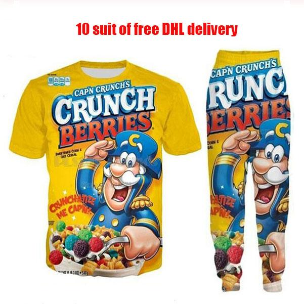 Yeni Moda Kadınlar / Erkek Gıda Crunch Çilek Komik 3D Baskı T-shirt + Jogger Pantolon Casusal Eşofman Setleri DF3
