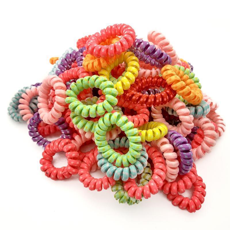 Elastische Band Spiralform Pferdeschwanzküste Gummi-Gummi-Seil Telefondraht Haarschmuck Größe 4 cm q qyljix