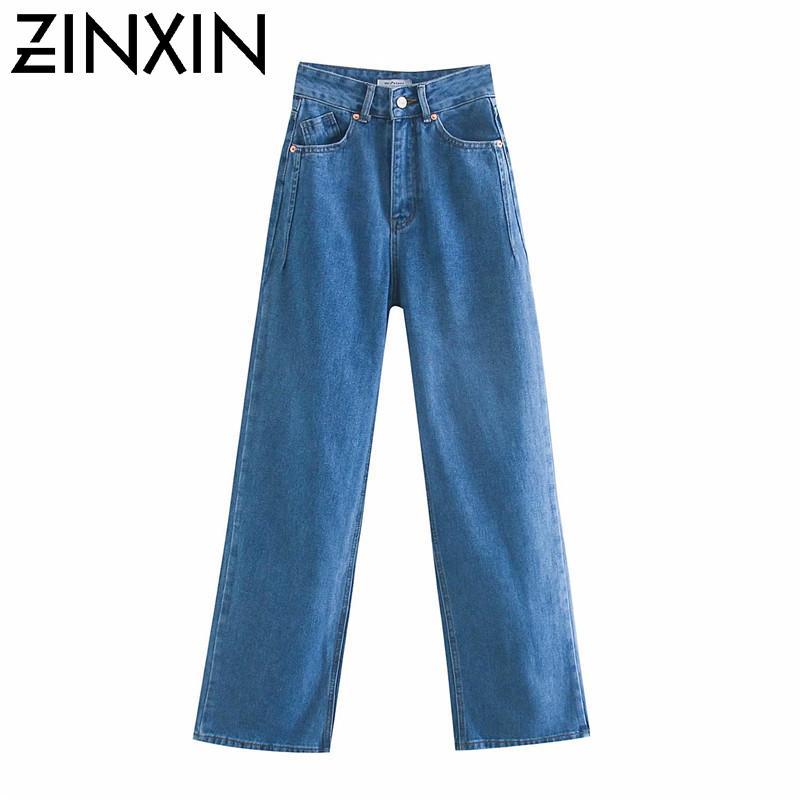 Zinxin 2020 Frauen hohe Taille overlength Jeanshosen Hosentaschen Reißverschluss weibliche breite Beinhosen Denim