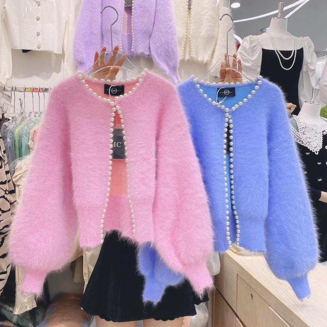 2021SS 디자이너 여성 겨울 새로운 캔디 컬러 양털 진주 따뜻한 밍크 벨벳 둥근 목 버블 슬리브 착용 에지 코트 스웨터