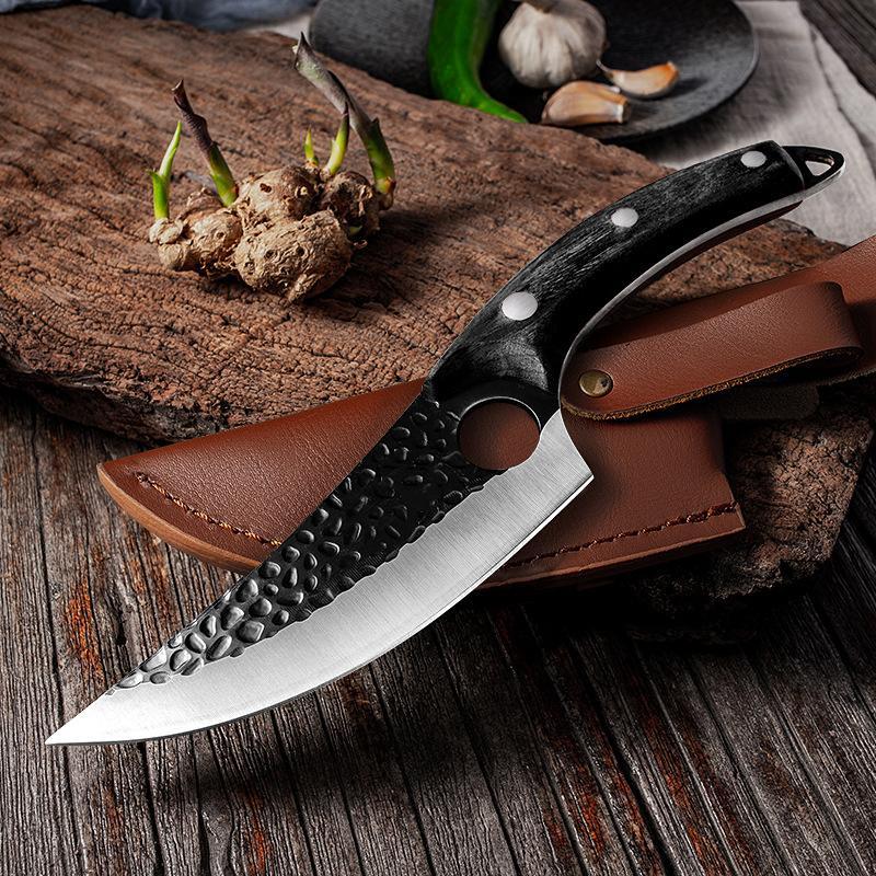 Couteau de cuisine en acier inoxydable fait à la main couteaux de désalage de la pêche à la viande de pêche cuisson extérieure coupe-boucher