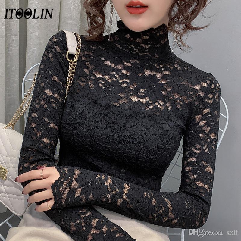IToolin Lace Turtleck Plüsch Basishemd Frauen Blusen plus Größe Top Mujer Hemd Frauen mit Langarm Luxus Winter Herbst
