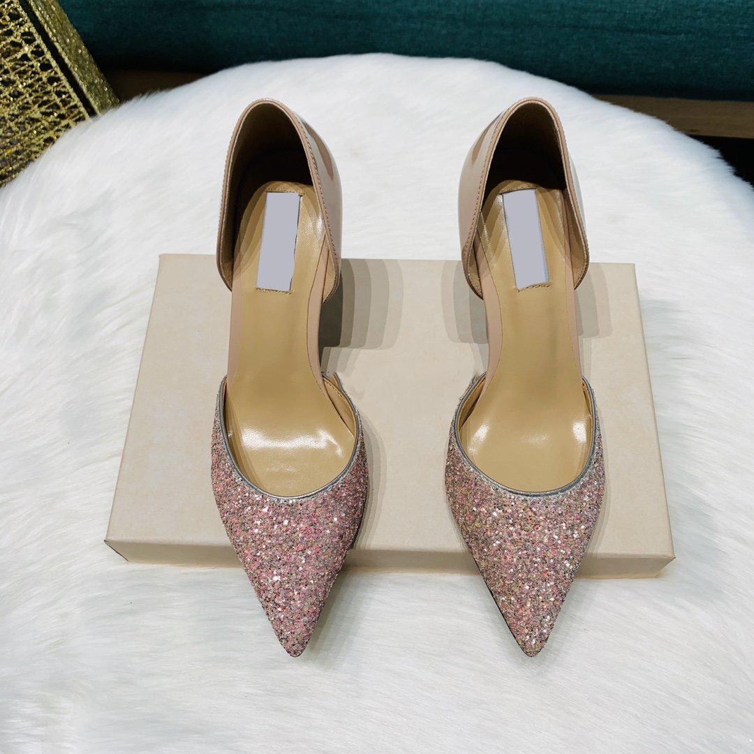 2020 الفاخرة عالية الكعب المرأة الترتر اللباس أحذية مصمم الأسود الخنجر كعب أحذية النساء حفل زفاف حزب اللباس أحذية معجيمي صندوق