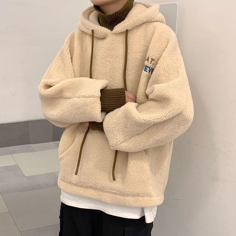 Männer Mode Hoodie Top Casual Fleece Dicke Winter Gestickte Lose Beiläufige Lammwolle Übergroße Hoodie Japanische Streetwear