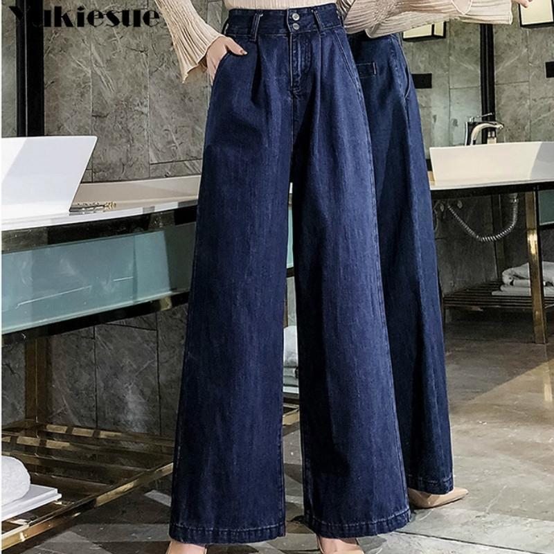 Mujeres Alta Cintura Mamá Jeans Mujer Denim Wide Pierna Jeans Azul Limentario Palazzo Pantalones Otoño Boyfriend Jeans Mujer Plus Tamaño 210203