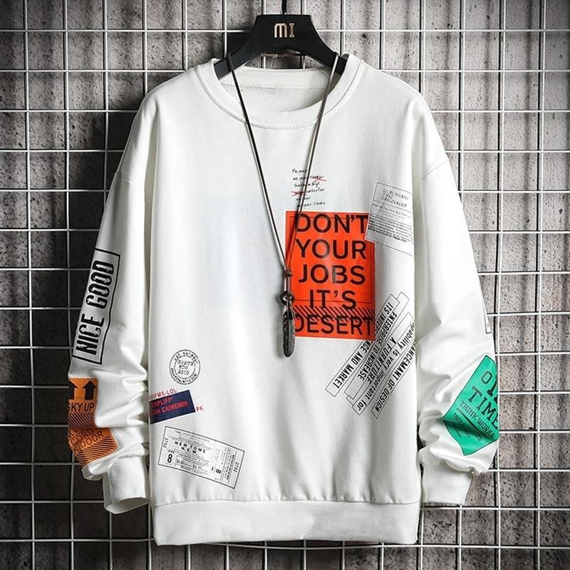 Camisolas de Crewneck Oversized Homens Brand New Harajuku Japonês Streetwear Masculino Hip Hop White Hoodie Moletons Tops Homens Y201123