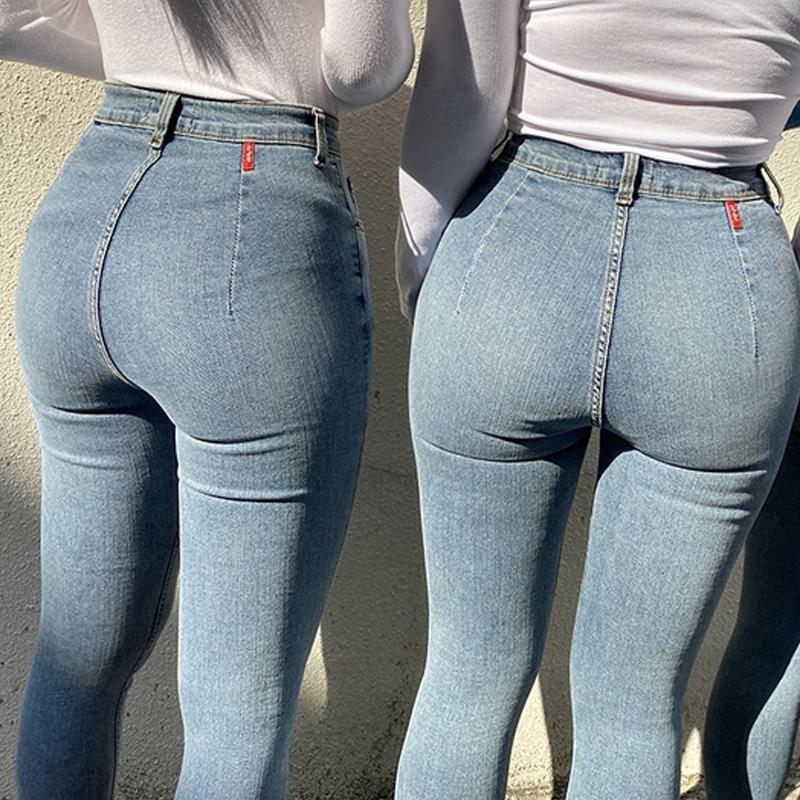 Calças de jeans femininas Alta cintura Stretch Skinny Denim Calças 2020 Outono Inverno Azul Retro Lavado Elastic Slim Lápis Calças