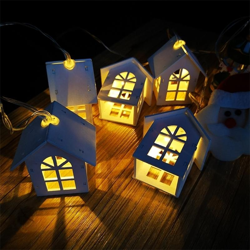 Qyjsd New Led Wood House String Light 3m Garland House New Years Albero di Natale Party Wedding Party Fairy luci novità decorazione 201127