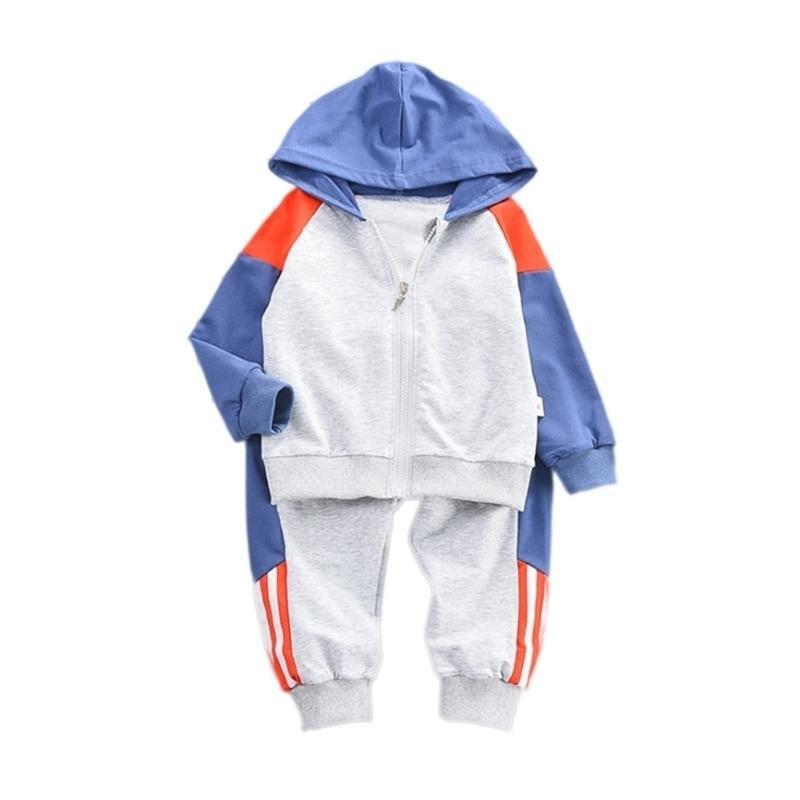 Frühling Herbst Kinder Sportkleidung Baby Jungen Mädchen Lässige Kapuzenjacke Hosen 2 teile / set Kleinkind Baumwolle Kleidung Kinder Tracksuits 201031