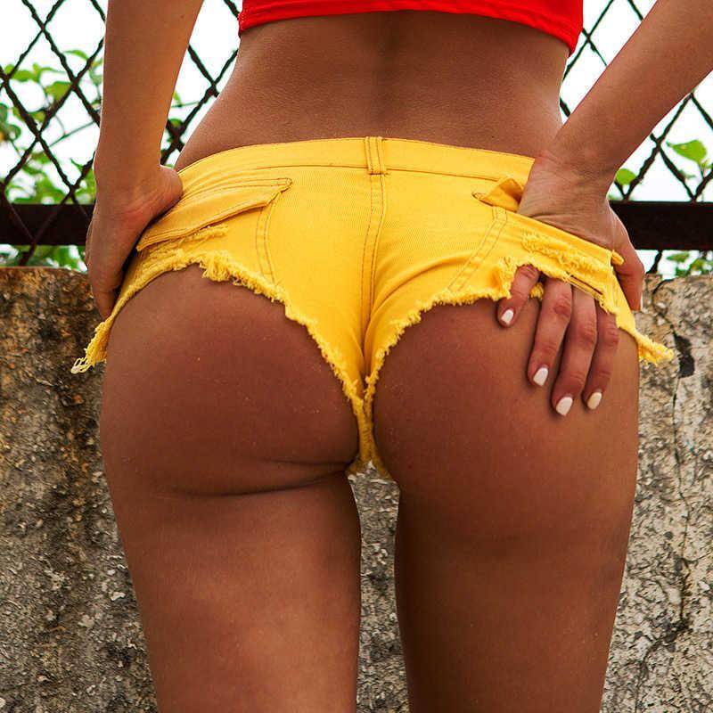 Сексуальные отверстия Pocket Женщины Полюс Танц Танцы Джинсы Стринги Бар Шорты Женский Микро Ультра Низкая Талия Clubwear Colled Feminino
