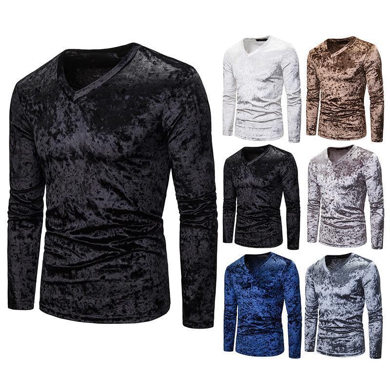T-shirt dos homens do algodão puro T-shirt da manga longa do decote em v para a roupa magro magro da aptidão T-shirt Sólida da cor de Stupwear manga longa camiseta