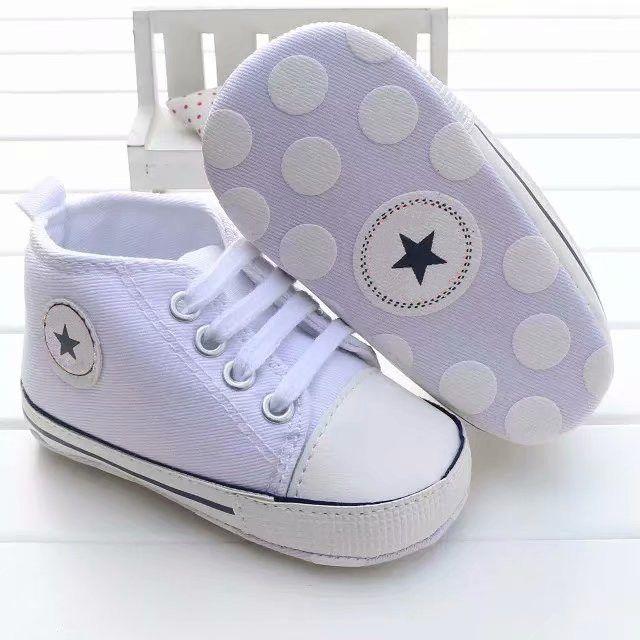 Baby Boys Girls Lienzo Zapatos 0-18M Niños Zapatillas de deporte SOFT SOFT SOBRE BEBE CUBIERDO CRIB POR FOTARIOS NUEVO INFANTIL FORDADOR FIRST WALKERS