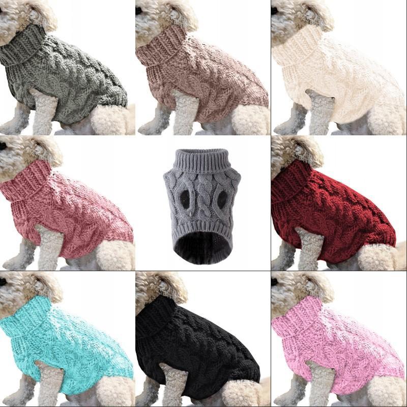 Autunno inverno cane abbigliamento maglioni caldi lana a maglia a maglia pet cucciolo vestiti risvolto per il tempo libero ropa para perros accessori moda 8 9my G2