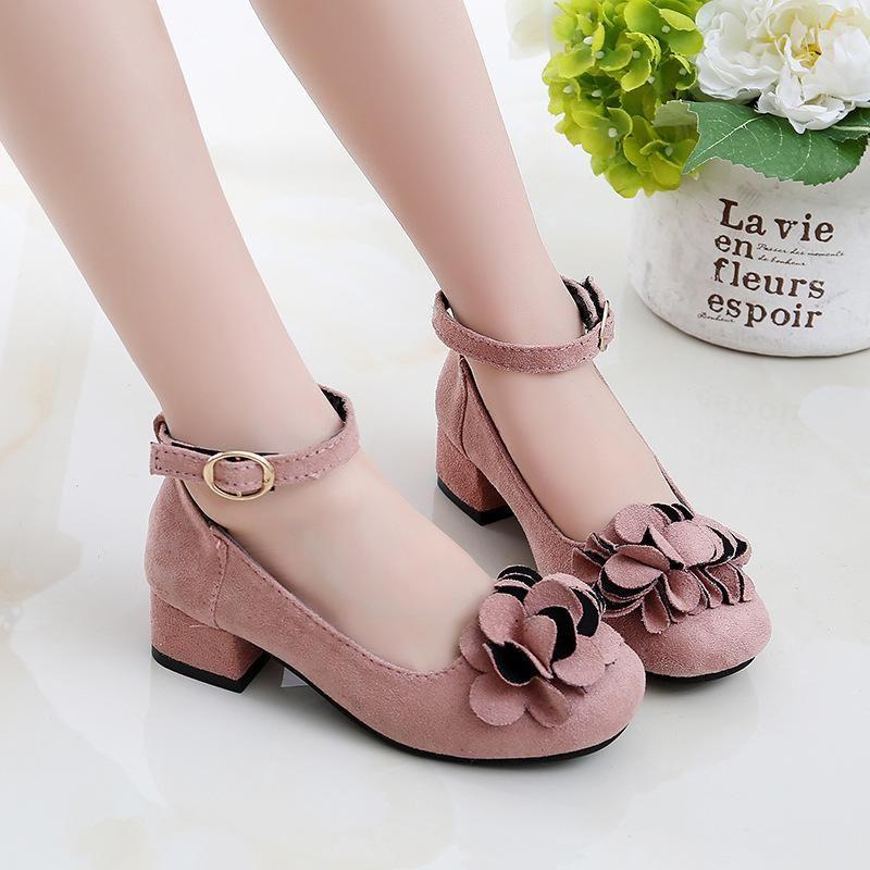 أحذية الفتيات لحضور حفل زفاف الأميرة الأحذية الجلدية عالية الكعب زهرة كبيرة الفتيات اللباس الاطفال 2021 4 5 6 7 8 9 10 11 سنوات