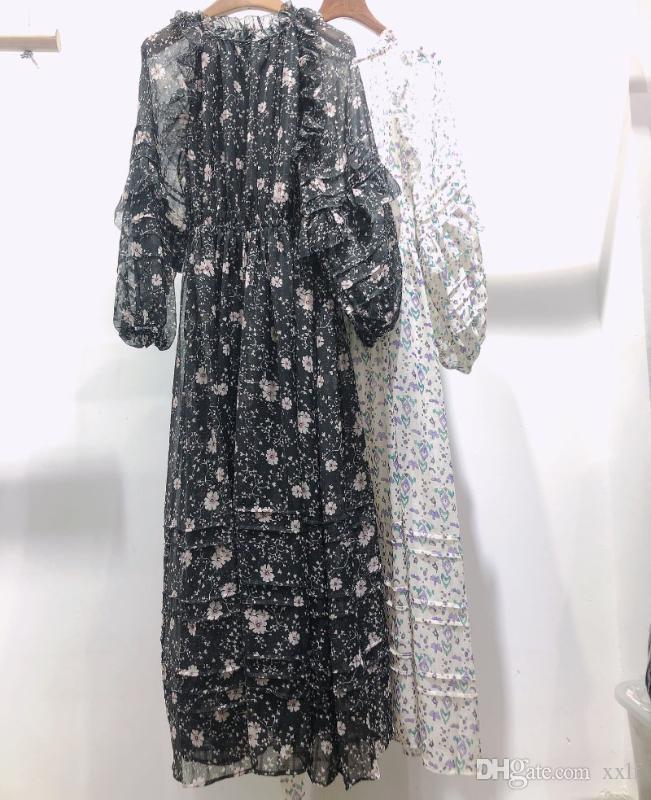 Frau Schwarz Grün Blumendruck Midi Kleid V-Ausschnitt Lange Ärmel Rüge Detail Mode Kleid 2020