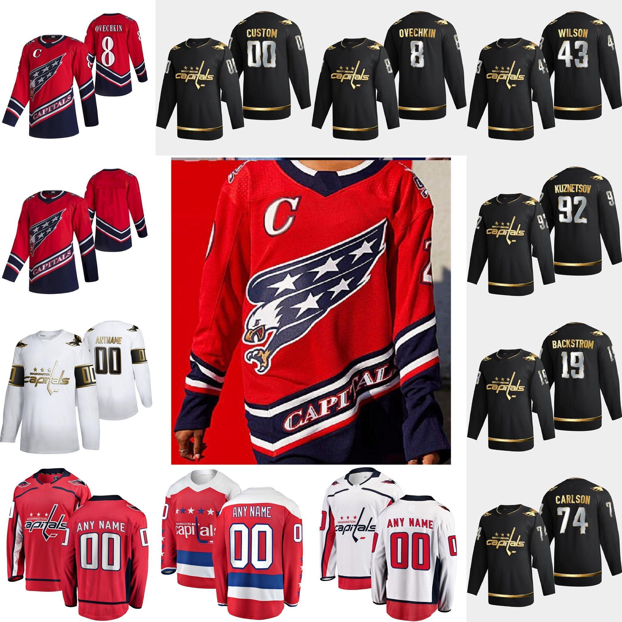 워싱턴 수도 2021 Reverse Retro Hockey Jerseys Alex Ovechkin Braden Holtby Tom Wilson T.J. Oshie Evgeny Kuznetsov 사용자 정의 스티치