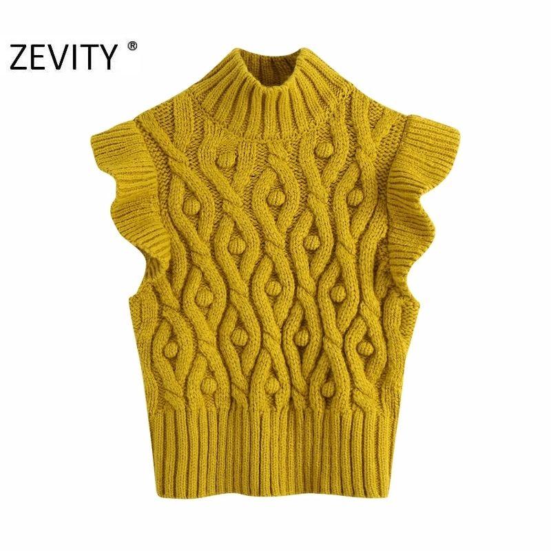 Zevity New Women Fashion Ball Appliques Twist Knitting Sweater Senhora Laço Agaric Lace Sem Mangas Casuais Slim Vest Pullovers Tops S420 C1121