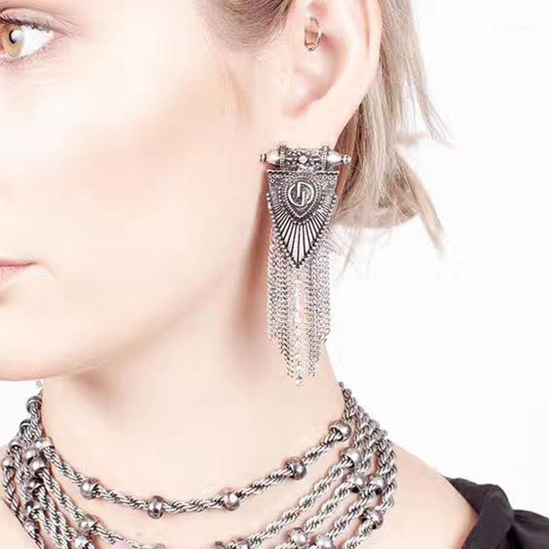 ZTech Metal Püsküller Bohemia Büyük Uzun Küpe Kadın Aksesuarları için El Yapımı Geometrik Küpe Boucring D Oreille Femme1