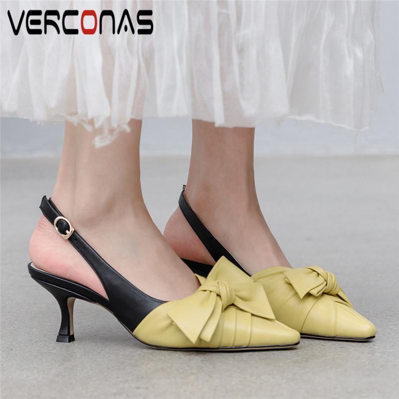 Verconas mulheres genuíno borboleta borboleta nó fino salto alto salto alto pointed toe bombas de festa verão sandálias concisas sapatos mulher