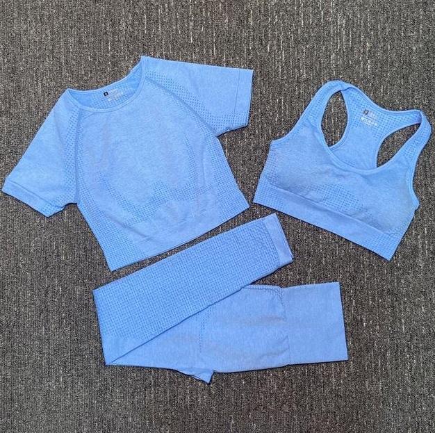 Moda Designer Womens Algodão Yoga Terno GymShark Sportwear Tracksuits Fitness Sport Três Peça Set 3 Calças Bra camisetas Roupas leggings