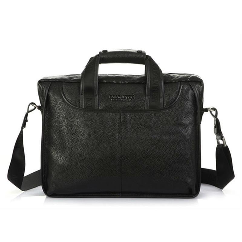Полный зерна подлинная мужская папка деловой ноутбук кожаный карманный скрещивание сумка черный коричневый мешок