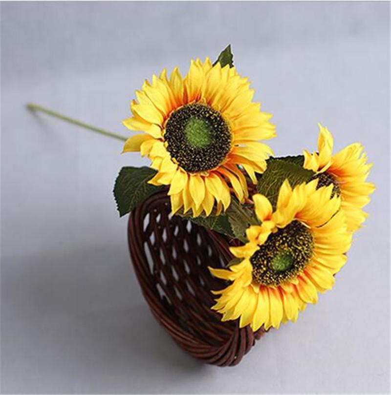 """10 stücke Künstliche Sonnenblume 3 Köpfe / Stück Seide gelb Gererebra 23.62 """"Für Hochzeitshausdekorative Blumen"""