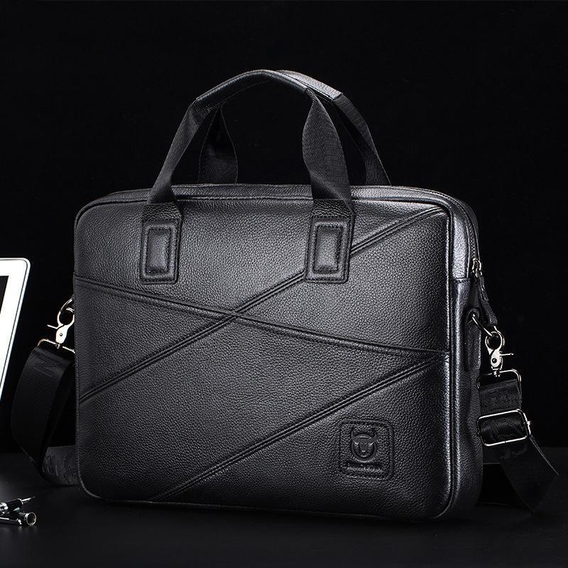 HBPTopFight 2021 New Genuine Men Leather Briefcase Computer Laptop Handbag Bag Men's Travel Bags Q0112
