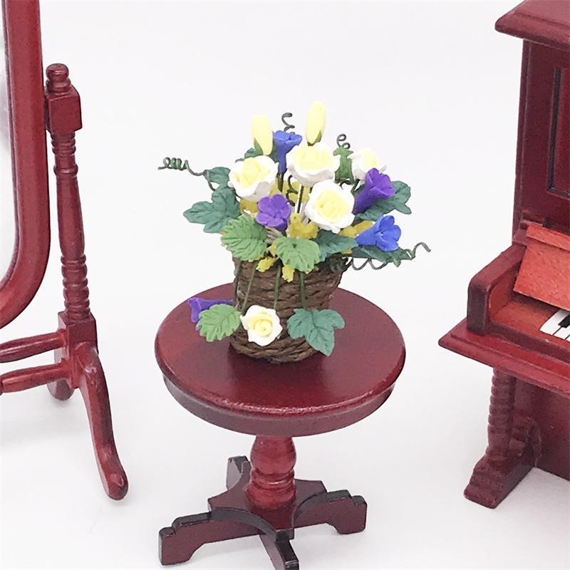 1: 12 Mini Doll House Dollhouse flower miniature garden living room ornaments woven basket yellow rose Basin Handmade Design CRSM