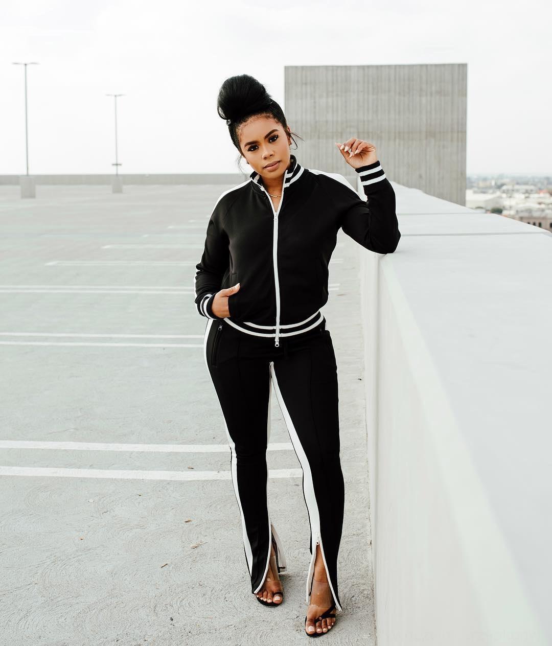 IZNW Hoodies Eşofman İki 2 Parça Kıyafetler Uzun Kollu Giysi Fermuar Hırka Pencli Pantolon Set Bayanlar Spor Streetwear Bayan Sonbahar