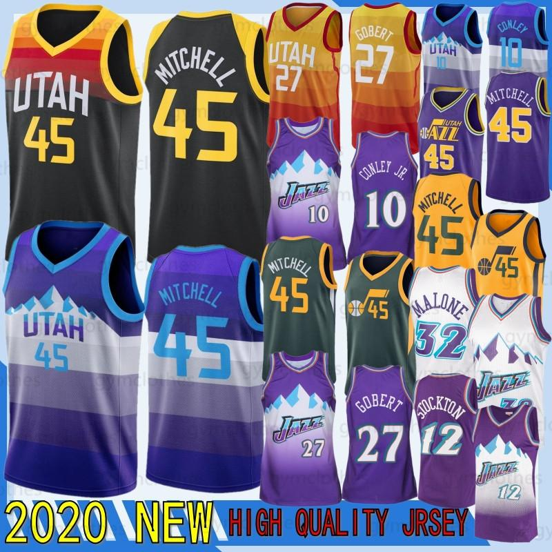 Donovan 45 Mitchell Jersey Jazzes NOUVEAU Mike Conley 10 Rudy 27 Ricky Gobert 3 Rubio NCAA Hommes Utahs maillots Retro