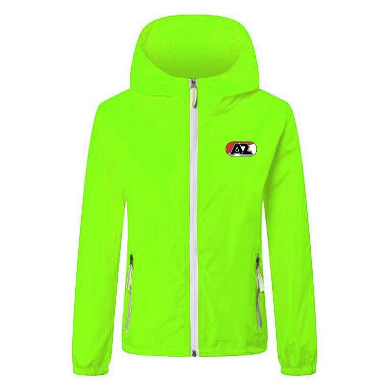 AZ Alkmaar Футбольная ветровка Куртки сплошной цветовой ветровки молния с капюшоном Куртка с капюшоном