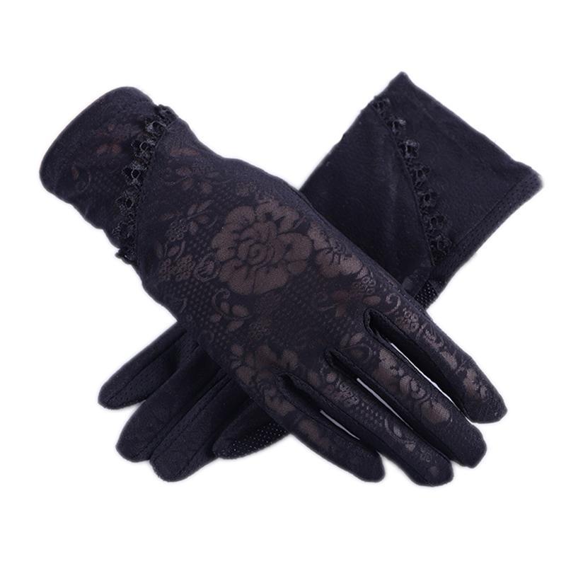 Écran tactile extérieure de luxe-femme à écran tactile antidérapante dentelle dentelle dentelle des gants solaires UV