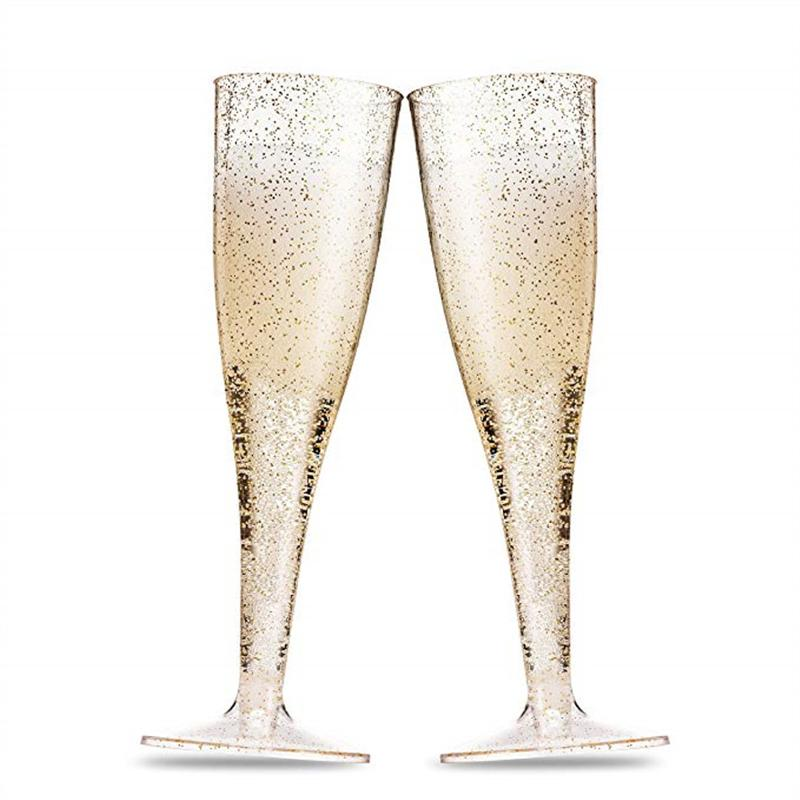 Gold Glitter Plastic Champagne Flutes Clear Plastic Toasting Goblet Disposable Wedding Party Cocktail Cups Party Marriage Wine Decoration
