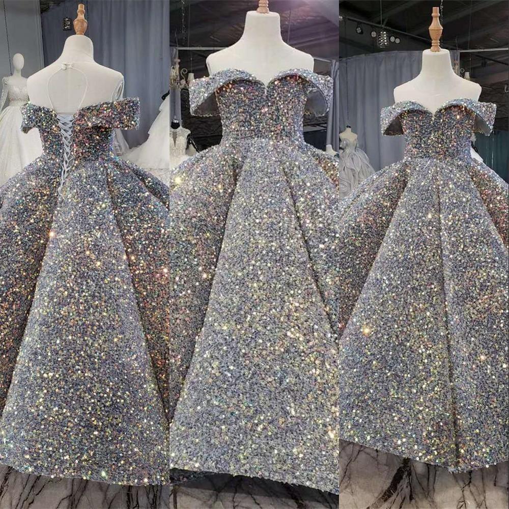 2021 Новое серебряное Bling Bling Bling Sequin Girls Pageant платья пухлые с плечами Рученные Цветочные Девушка Платья Бальные платья Партии Платья для девочек