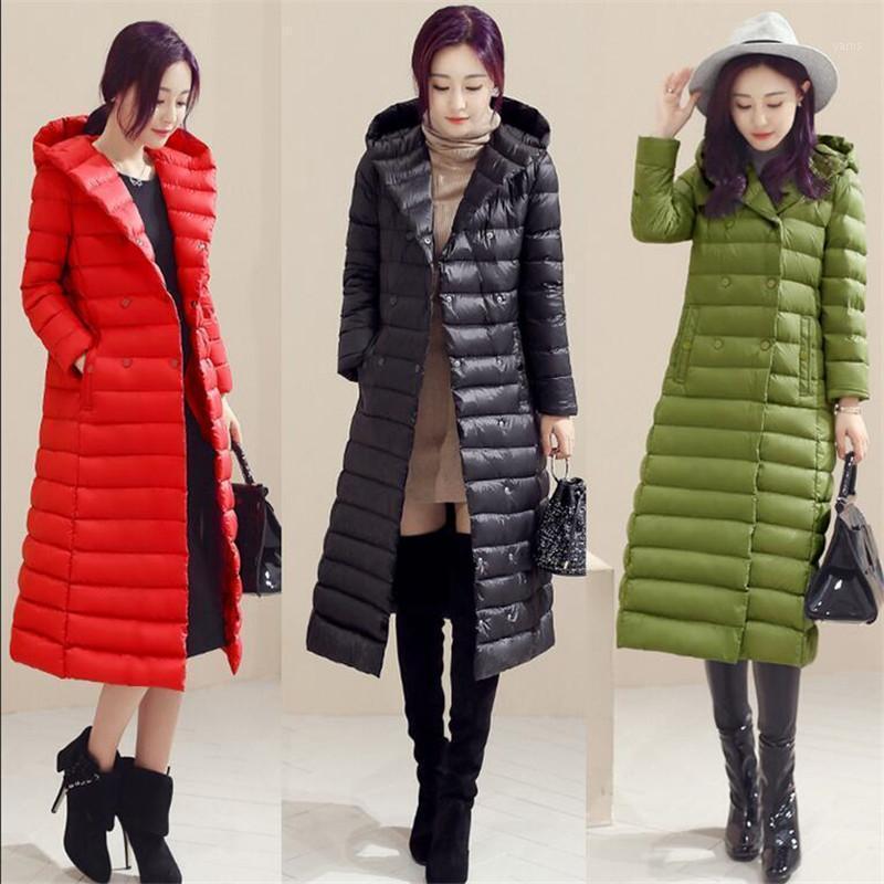 2020 пуховик женский женский линейный пальто осенью зима х-длинные сверхлегкие зимние пальто женщины длинные теплые парку с поясом1
