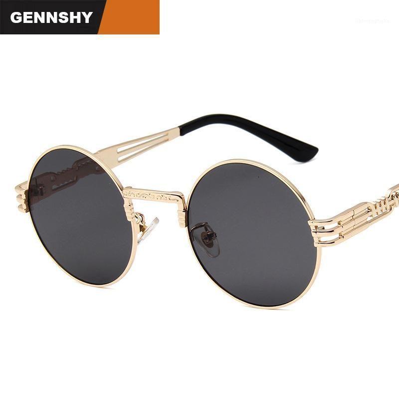 Sunglasses 2021 Reto Small Round Men Metal Steampunk Unique Cool Gold Frame Double Transparent Ocean1