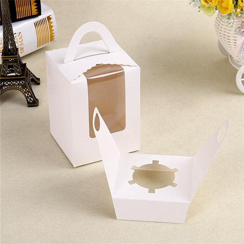 Únicas caixas de cupcake com janela clara alça portátil mousse mousse bolo lanche caixas de papel caixa caixa de aniversário festa de aniversário 103 p2